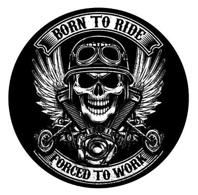 Born to Ride Forced to Work Motorbike Sticker | Skull Motorcycle Biker Car Decal