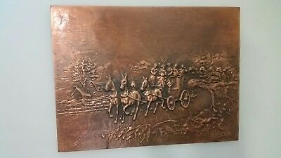 1970's Retro Vintage Kitsch Pressed Copper Stage Coach Picture Wall Hanging