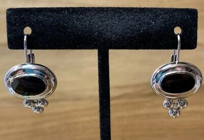 Sterling Silver Black Onyx Lever Back Earrings Signed GR Marked 925 Thailand