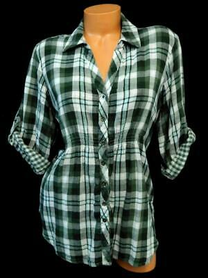 Sonoma life + style green gray plaid rolled-up sleeve button down fashion top XL
