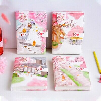 """""""Sakura Cat v3"""" 1pc Faux Leather Journal Diary Cute Notebook Lined Papers Gift"""