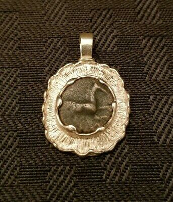 Ancient Greek Bronze Horse Coin Sterling Silver 925 Pendant