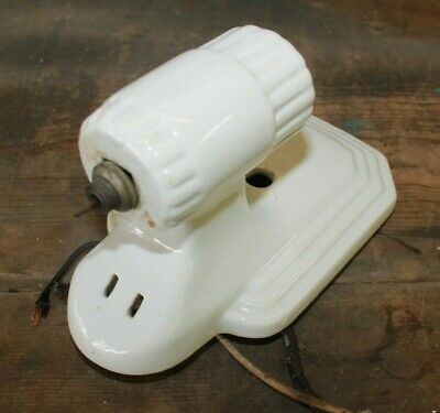Vintage Art Deco Porcelain Sconce Bathroom Wall Fixture Light White W Pull