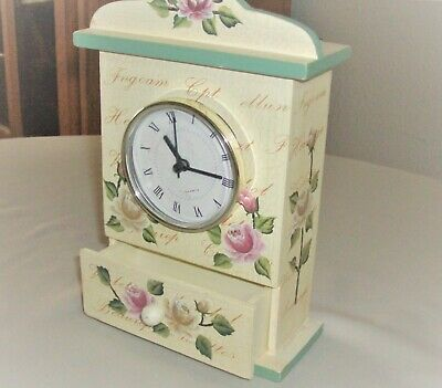 CLOCK Shabby Chic Wood Wall Shelf Table Mantle with DRAWER Roses Battery Run