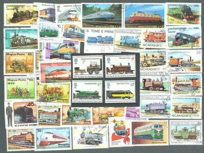 Trains-Railways 100 all different collection plusGreat Britain mnh set