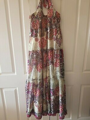 Gorgeous Ladies Long Gypsy Boho Style Tiered Summer Maxi Dress Paisley Size Xl