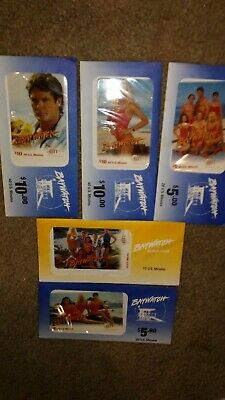 Prepaid Phone Cards GTI Bay Watch Collection of 9 New Cards - 5 Cards Sealed