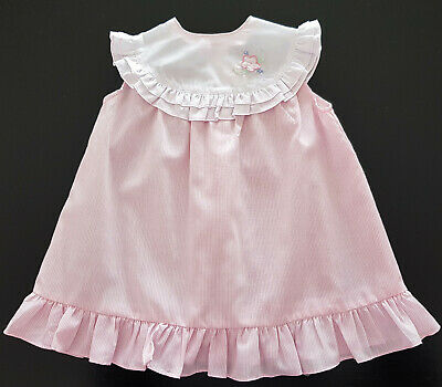 VINTAGE 1970/80's BABY DRESS ~ PALE PINK & WHITE, for BABY or REBORN DOLLS Sz 1