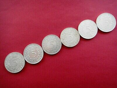 GERMANY  DEUTSCHE   5 MARK SILVER COINS   Various Dates   GROUP LOT OF (6) Coins