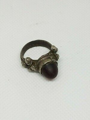 Antique Silver Yemeni Bedouin  Ring With old Agate Stone Size 7