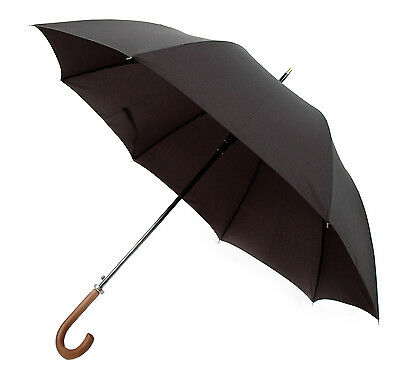 OCTAVE Mens Black Automatic Opening Walking Umbrella With Wooden Handle