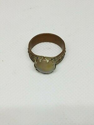 Antique Silver Yemeni Bedouin Ring With old White Agate Stone Size 9