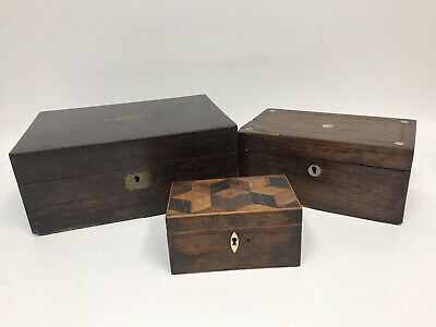 3 x 19th Century antique Victorian Mahogany Rosewood box inlaid mother of Pearl
