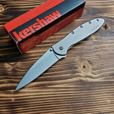 Kershaw 1660 Leek Stainless Handle 14C28N Assisted Open Framelock Folding Knife