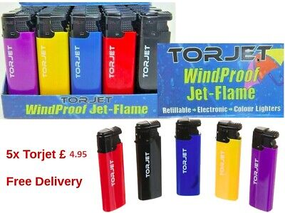 5 x TorJet Windproof Electric Turbo Jet-Flame Lighters Refillable 5 Colours