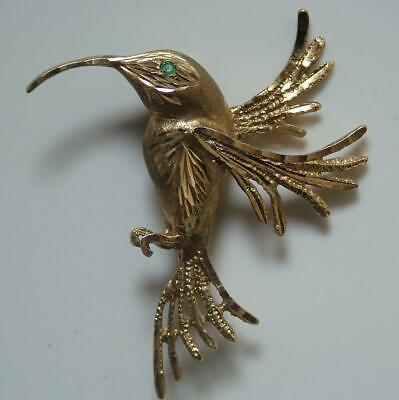 Unusual Vintage Solid 9Ct Gold Hummingbird Brooch