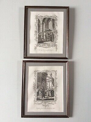 Pair of 18th Century engravings by Hall - Penitents in Naples & Russian wedding
