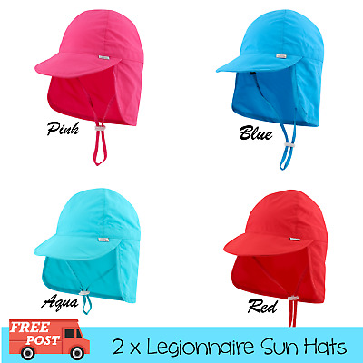 2 x SECONDS Legionnaire Sun Hats For Kids Baby Toddler Newborn Polyester UPF 50+