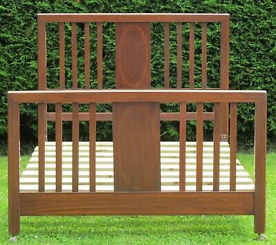 Mahogany Inlaid Small Double Bed 4ft Wide and Pine Slat Base