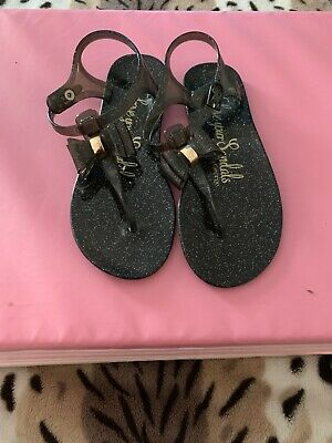 Girls Sandals By George At Asda Black Glitter Sandals Size 3/37
