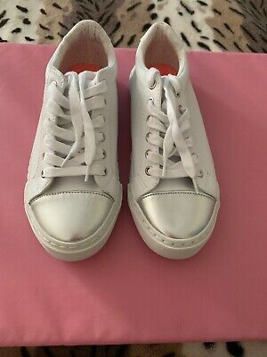Girls Trainers By George At Asda Girls White With Silver Tip Size 3/37