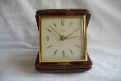 Vintage Kienzle Travel Alarm Clock In Brown Case.