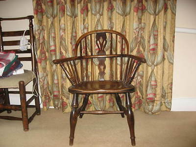 EARLY 19th CENTURY ANTIQUE ELM & ASH ARM CHAIR OF SUPERB COLOUR WIDE SEAT /3895