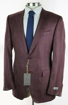 NWT $1595 CANALI 1934 Berry Woven Wool Silk Linen Coat Jacket Slim-Fit 44 L