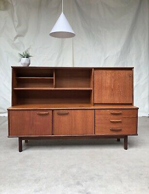 Vtg Mid Century Danish Teak Highboard Sideboard Design Retro 60s