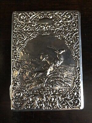 Antique Edwardian Sterling Silver Card Case Aide Memoire 1908 Hunting Stag