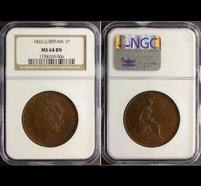 George Iv Penny 1826  Great Britain Unc Ngc Ms64