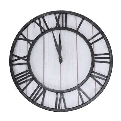 2X(Round For Wall Clock Wrought Iron American Clock Home Living Room Silent E3R5