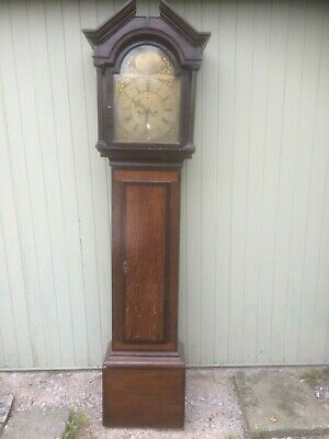 8 Day Brass Faced Longcase Clock engraved W Webb,Welligton