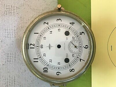 Vintage German Ship Clock , Brass Case-Dial-Glass dome