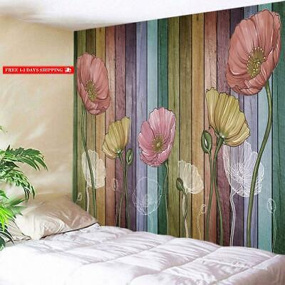 Deqi Retro Wood Plank Flower Wall Tapestry Colorful Tapestry Wall Hanging For Li