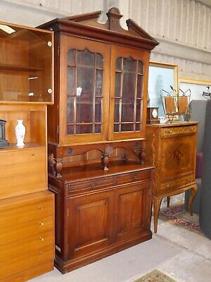 Antique Mahogany Display On Server Cabinet Buffet Bookcase