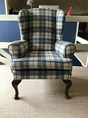 Wing Back Chair Re-covered In Check Fabric