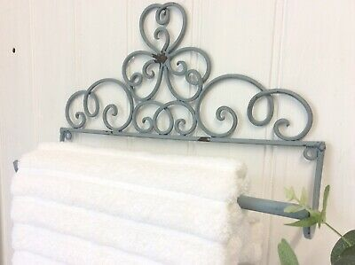 Small French Vintage Style Grey Metal Wall Mounted Towel Rail Shabby Chic
