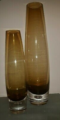 Pair of Vintage Retro Brown Amber Heavy Based Tapered Vases