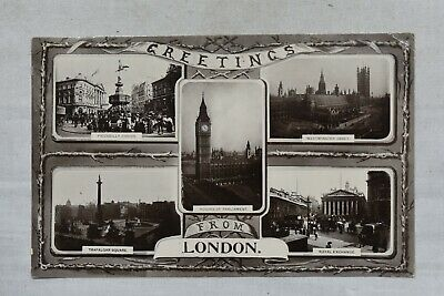 Antique Postcard London Greetings Multi-View Posted Postmark 1910 Real Photo RP