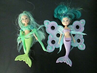 2 Rare Petal Pixies Mermaids Fairytopia Mattel Bubble Wand Wings Dolls Barbie
