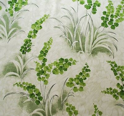 Horrockses fabric Runnymede green white plants floral vintage screen printed