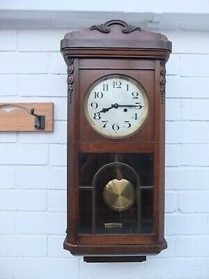 Antique Oak Cased Working Wall  Clock German H.a.c. Movement
