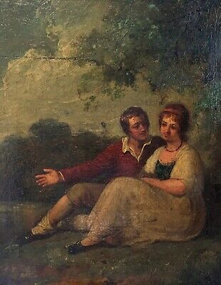 Antique French School Oil Painting on Wood Panel Courting Couple in Landscape