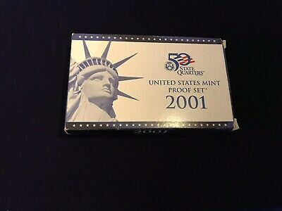 2001 US SILVER Proof Set - U.S. Mint - Blue Mint Box. 10 Coin Set With COA