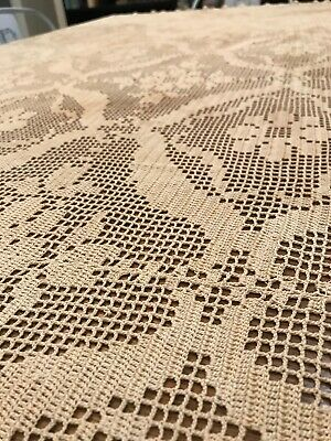 Vintage  HAND CROCHET 64 x 80 TABLECLOTH Tea Stained Tan Floral