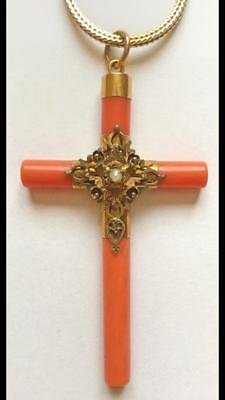 Beautiful Antique Red Coral and Gold Pendent Cross with Pearl
