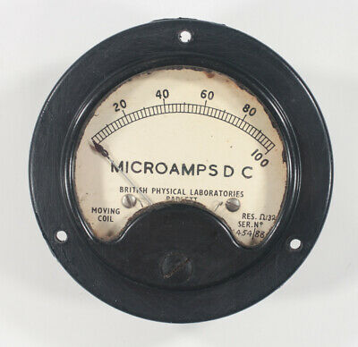 Vintage British Physical Laboratories moving coil meter 100uA FSD 68mm