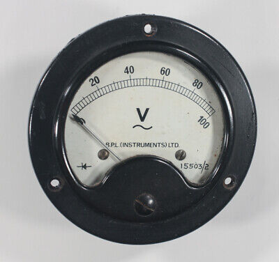 Vintage BPL Instruments Ltd moving coil meter 100V scale 68mm mount 1mA FSD