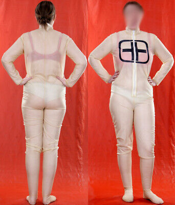 TRANSPARENT LATEX RUBBER NURSE GUMMI CATSUIT GANZANZUG rubbersuit XXL XL 46 48
